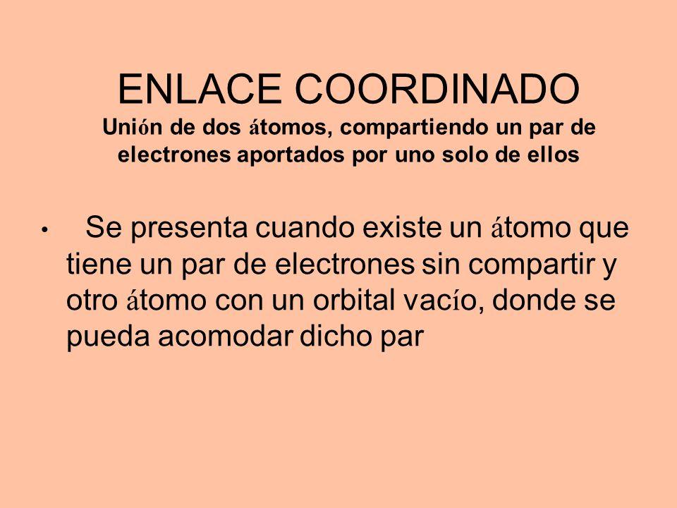 ENLACE COORDINADO Uni ó n de dos á tomos, compartiendo un par de electrones aportados por uno solo de ellos Se presenta cuando existe un á tomo que ti