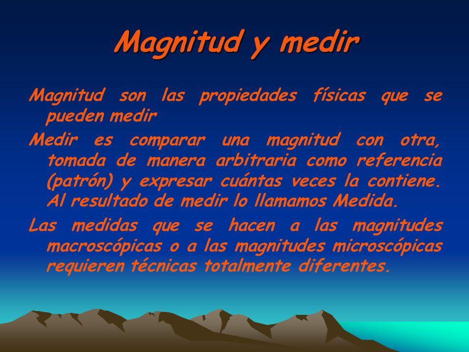 Magnitud y medir Magnitud son las propiedades físicas que se pueden medir Medir es comparar una magnitud con otra, tomada de manera arbitraria como re