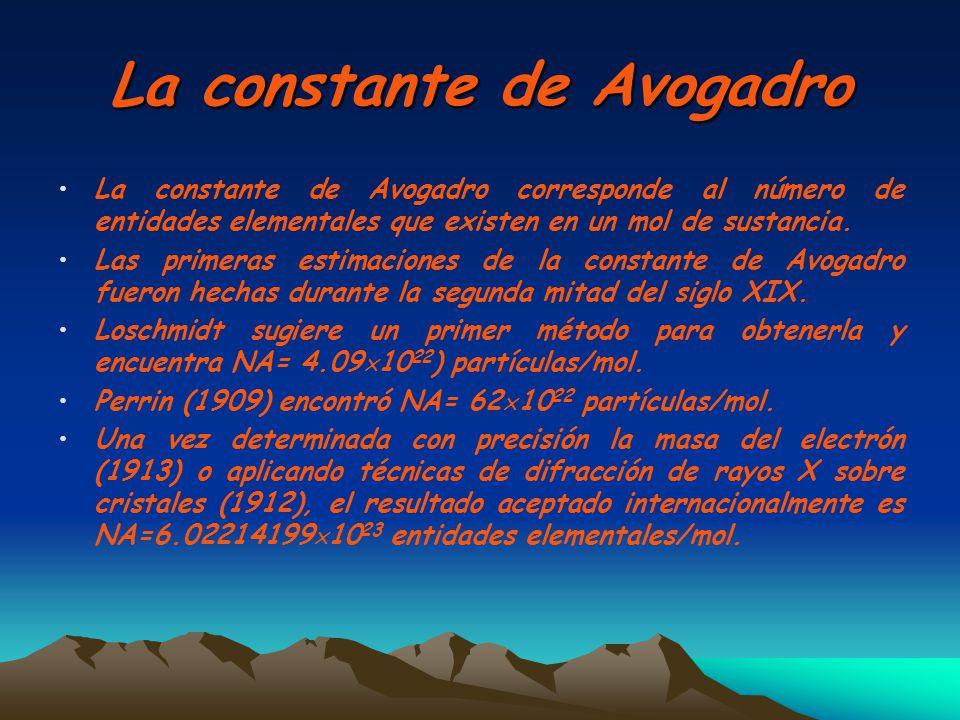 La constante de Avogadro La constante de Avogadro corresponde al número de entidades elementales que existen en un mol de sustancia. Las primeras esti