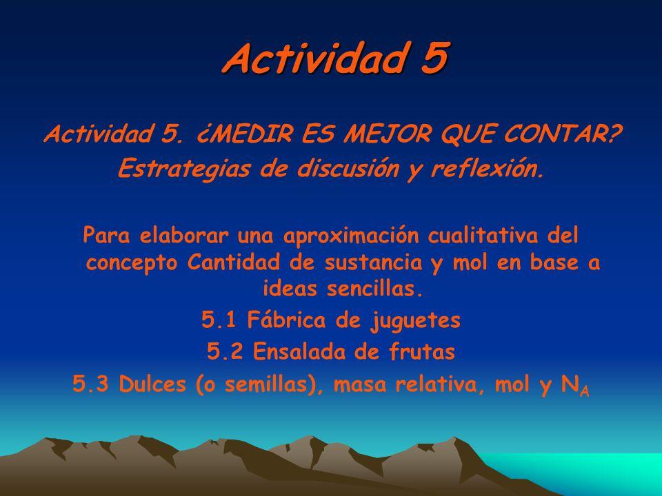 Actividad 5 Actividad 5. ¿MEDIR ES MEJOR QUE CONTAR? Estrategias de discusión y reflexión. Para elaborar una aproximación cualitativa del concepto Can