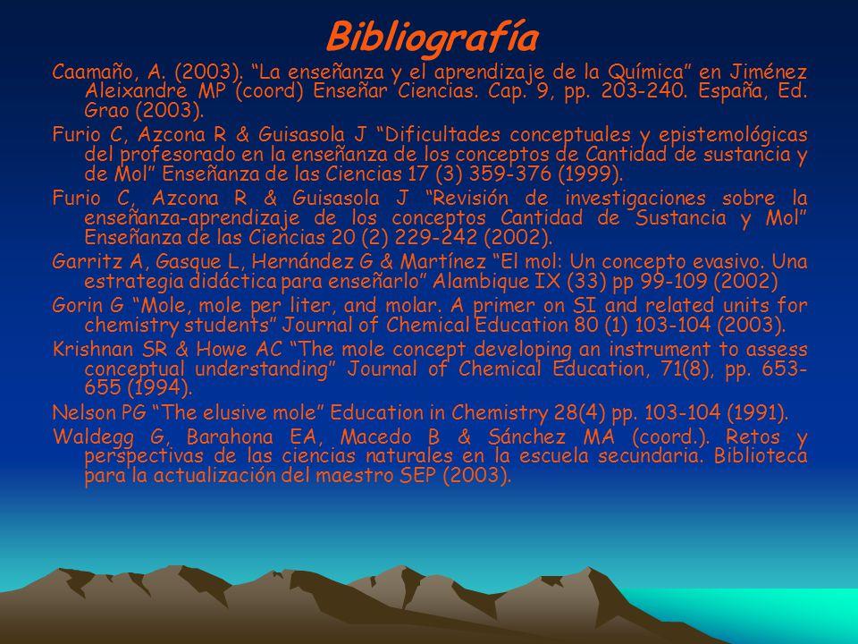Bibliografía Caamaño, A. (2003). La enseñanza y el aprendizaje de la Química en Jiménez Aleixandre MP (coord) Enseñar Ciencias. Cap. 9, pp. 203-240. E