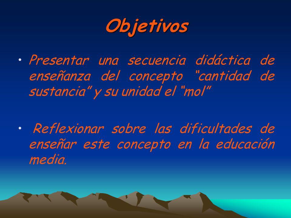 Objetivos Presentar una secuencia didáctica de enseñanza del concepto cantidad de sustancia y su unidad el mol Reflexionar sobre las dificultades de e