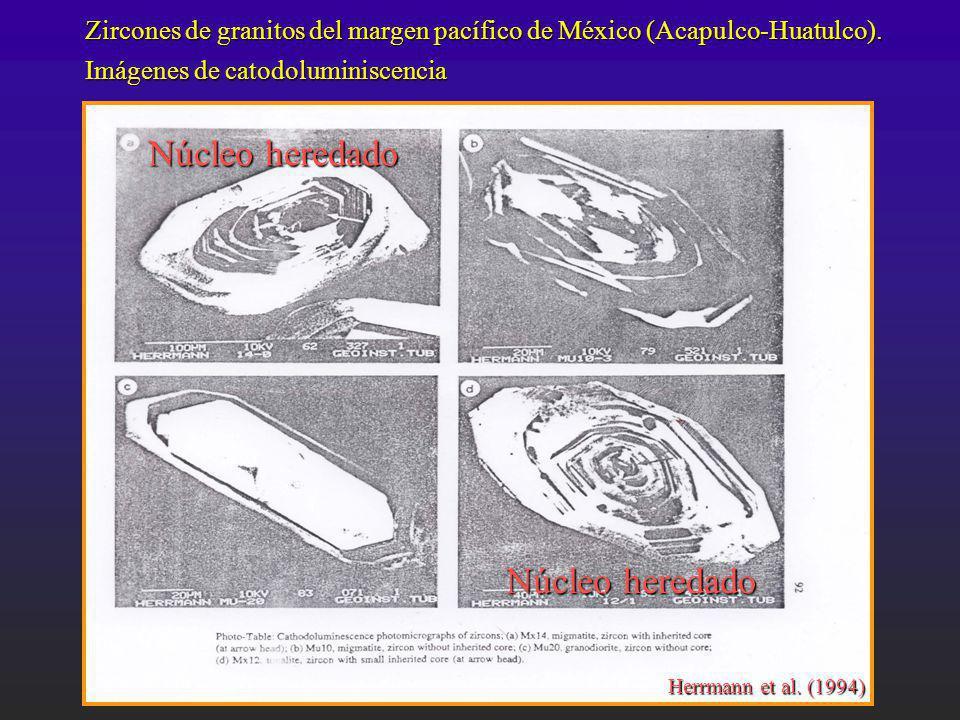 Núcleo heredado Zircones de granitos del margen pacífico de México (Acapulco-Huatulco). Imágenes de catodoluminiscencia Herrmann et al. (1994)