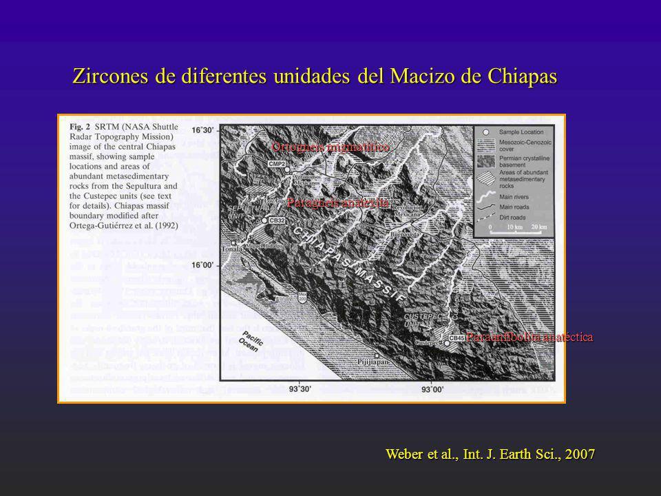 Zircones de diferentes unidades del Macizo de Chiapas Ortogneis migmatítico Paragneis anatexita Paraanfibolita anatéctica Weber et al., Int. J. Earth