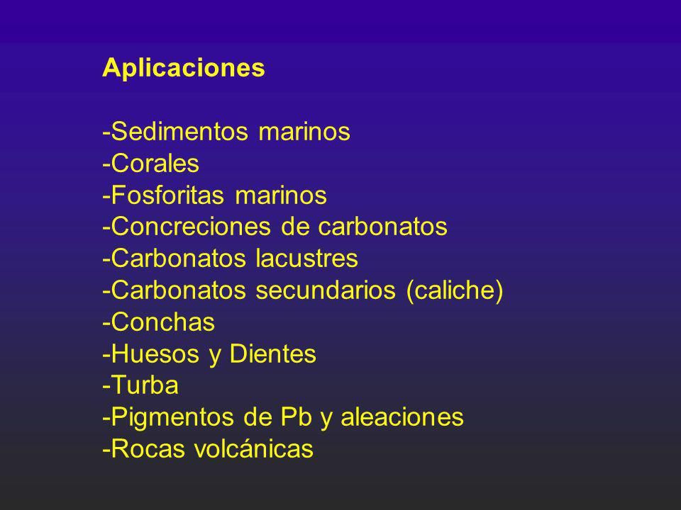 Aplicaciones -Sedimentos marinos -Corales -Fosforitas marinos -Concreciones de carbonatos -Carbonatos lacustres -Carbonatos secundarios (caliche) -Con