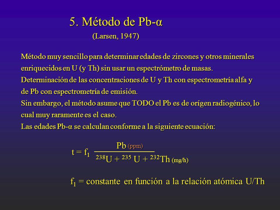 5. Método de Pb-α (Larsen, 1947) (Larsen, 1947) Método muy sencillo para determinar edades de zircones y otros minerales enriquecidos en U (y Th) sin