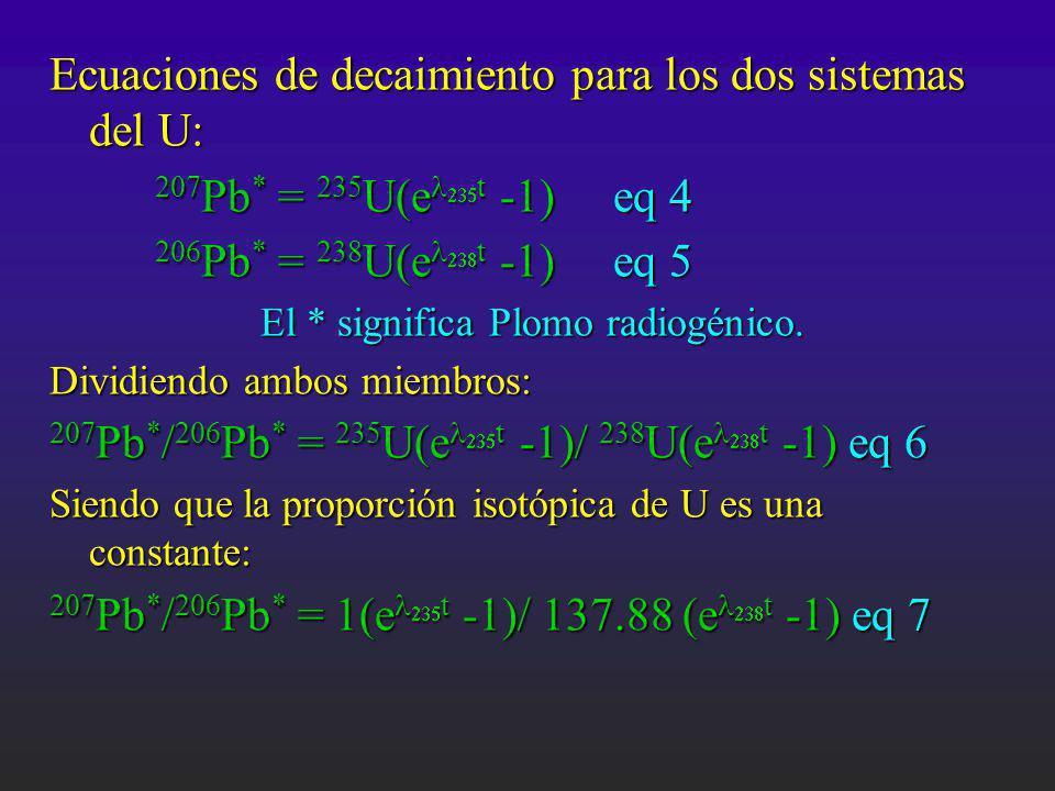 Ecuaciones de decaimiento para los dos sistemas del U: 207 Pb * = 235 U(e t -1) eq 4 206 Pb * = 238 U(e t -1) eq 5 El * significa Plomo radiogénico. D