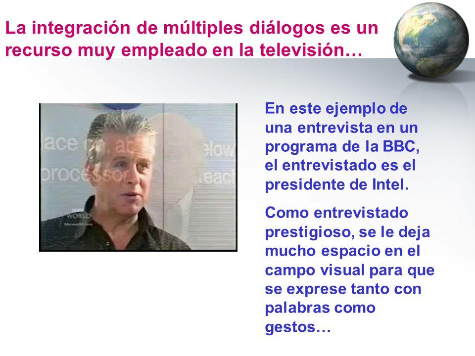 La integración de múltiples diálogos es un recurso muy empleado en la televisión… En este ejemplo de una entrevista en un programa de la BBC, el entre
