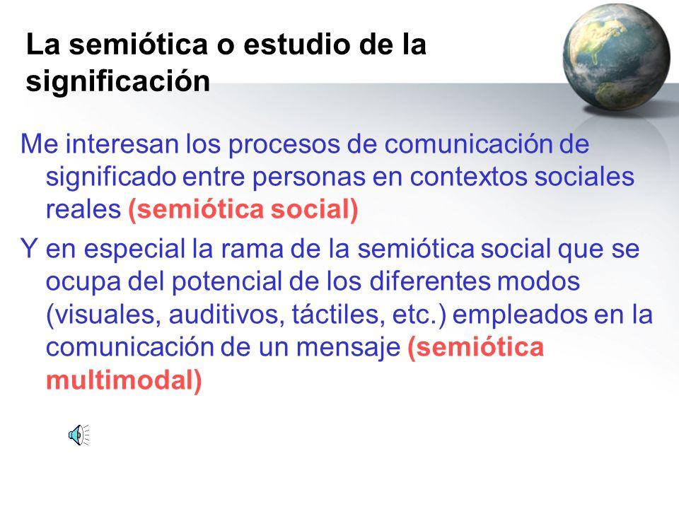 La semiótica o estudio de la significación Me interesan los procesos de comunicación de significado entre personas en contextos sociales reales (semiótica social) Y en especial la rama de la semiótica social que se ocupa del potencial de los diferentes modos (visuales, auditivos, táctiles, etc.) empleados en la comunicación de un mensaje (semiótica multimodal)