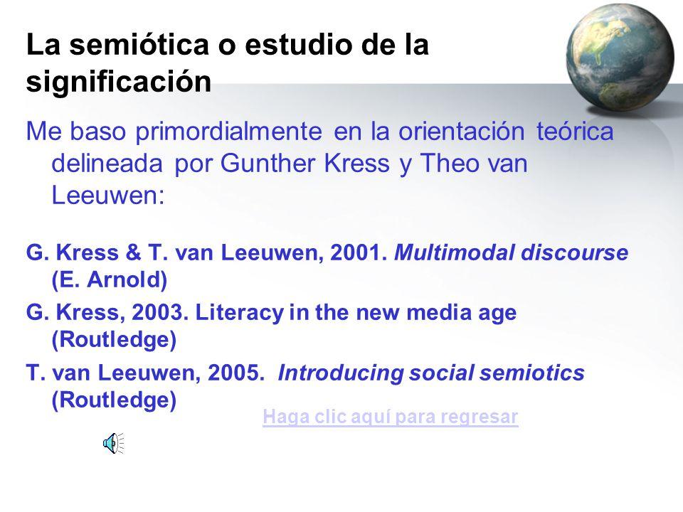 Me baso primordialmente en la orientación teórica delineada por Gunther Kress y Theo van Leeuwen: G. Kress & T. van Leeuwen, 2001. Multimodal discours