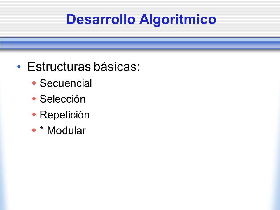 Desarrollo Algoritmico Estructuras básicas: Secuencial Selección Repetición * Modular