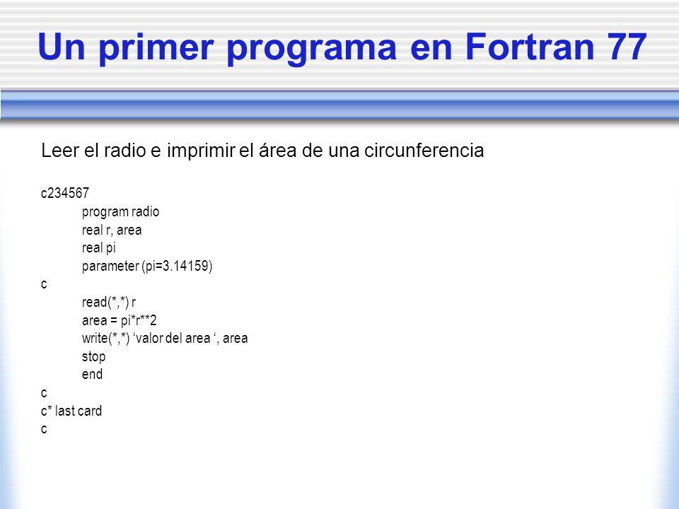 Un primer programa en Fortran 77 Leer el radio e imprimir el área de una circunferencia c234567 program radio real r, area real pi parameter (pi=3.141
