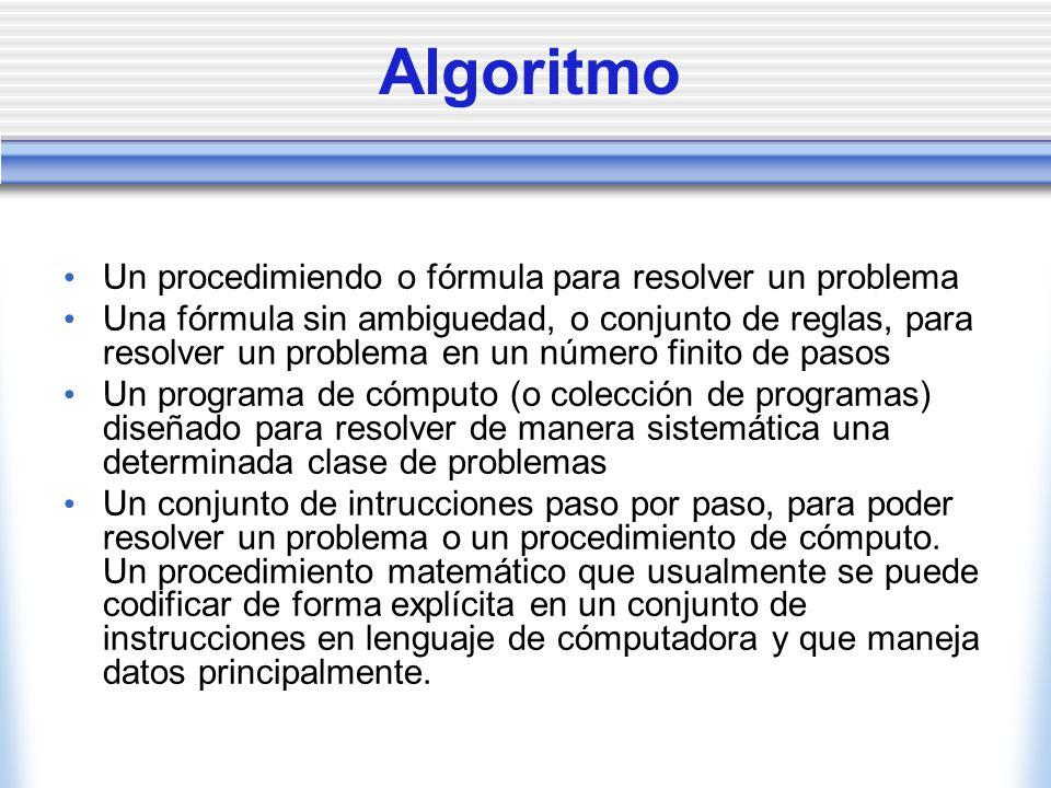 Algoritmo Un procedimiendo o fórmula para resolver un problema Una fórmula sin ambiguedad, o conjunto de reglas, para resolver un problema en un númer