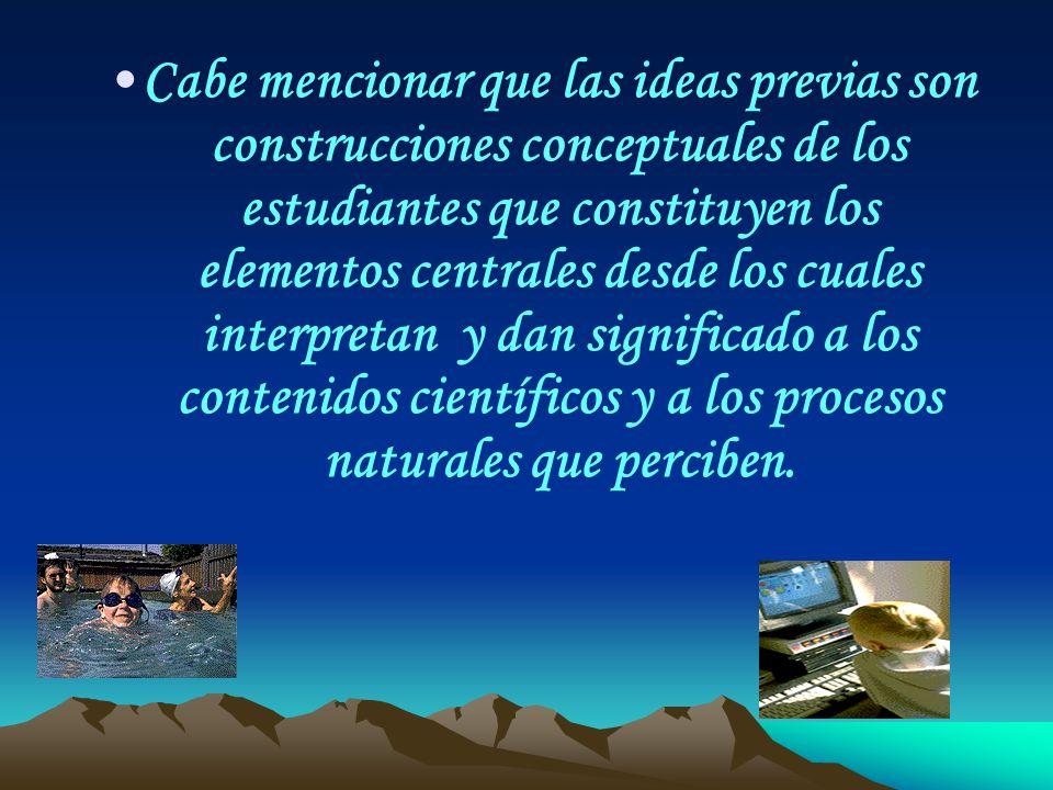 Cabe mencionar que las ideas previas son construcciones conceptuales de los estudiantes que constituyen los elementos centrales desde los cuales inter