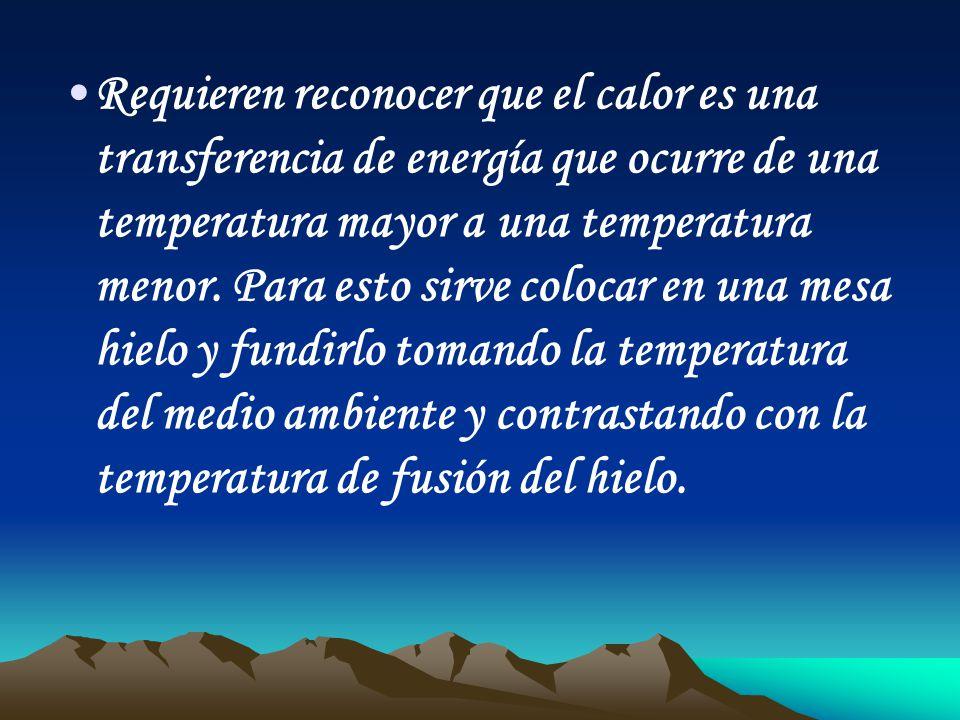 Requieren reconocer que el calor es una transferencia de energía que ocurre de una temperatura mayor a una temperatura menor. Para esto sirve colocar