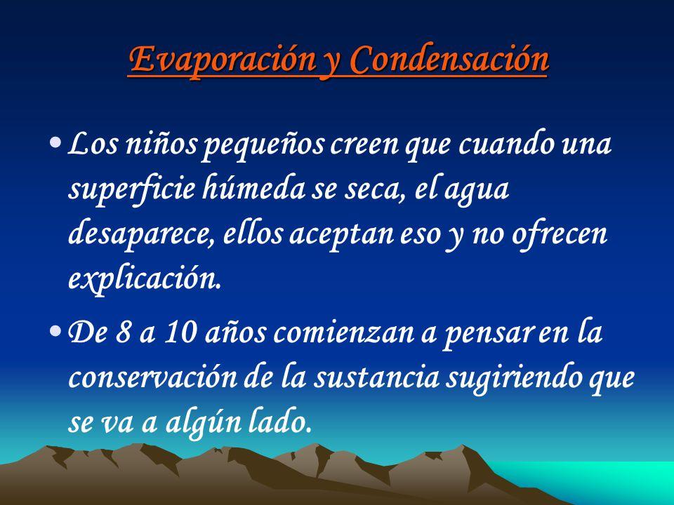 Evaporación y Condensación Los niños pequeños creen que cuando una superficie húmeda se seca, el agua desaparece, ellos aceptan eso y no ofrecen expli