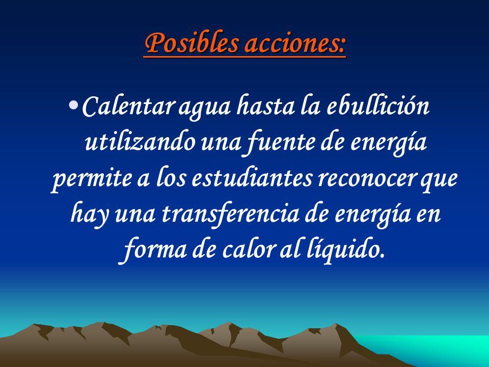 Posibles acciones: Calentar agua hasta la ebullición utilizando una fuente de energía permite a los estudiantes reconocer que hay una transferencia de
