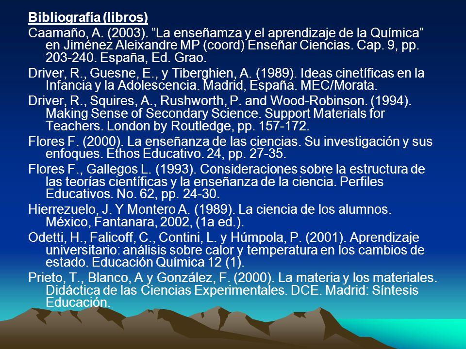 Bibliografía (libros) Caamaño, A. (2003). La enseñamza y el aprendizaje de la Química en Jiménez Aleixandre MP (coord) Enseñar Ciencias. Cap. 9, pp. 2