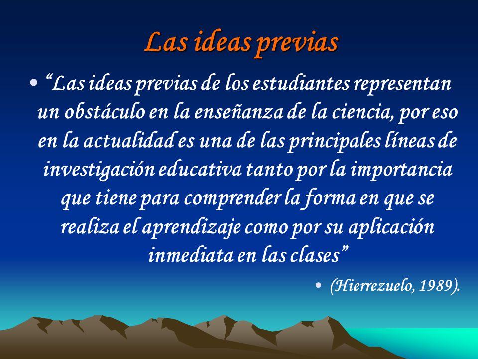 Las ideas previas Las ideas previas de los estudiantes representan un obstáculo en la enseñanza de la ciencia, por eso en la actualidad es una de las
