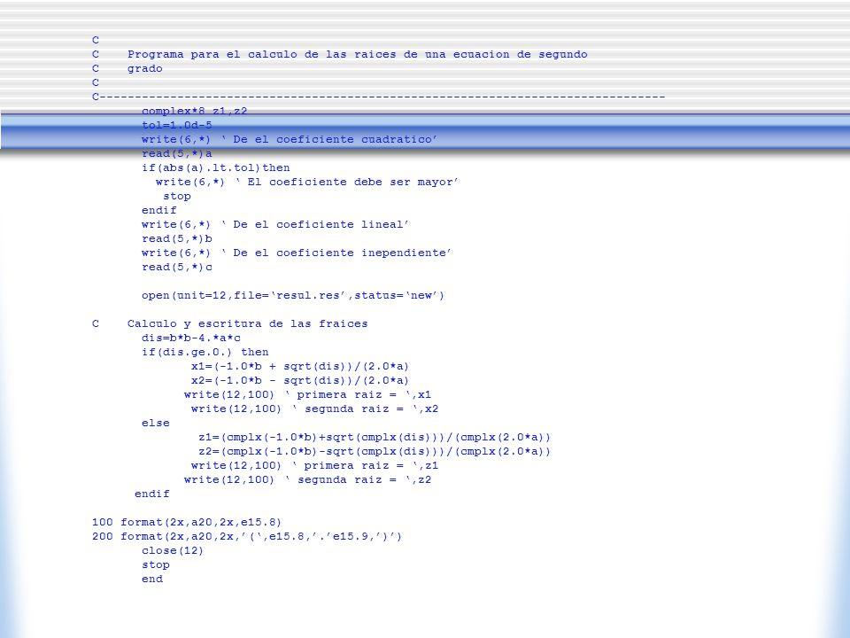 C C Programa para el calculo de las raices de una ecuacion de segundo C grado C C---------------------------------------------------------------------