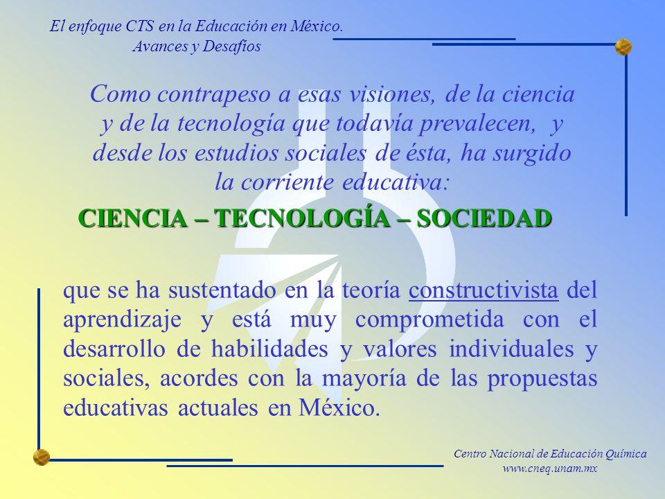 Centro Nacional de Educación Química www.cneq.unam.mx que se ha sustentado en la teoría constructivista del aprendizaje y está muy comprometida con el desarrollo de habilidades y valores individuales y sociales, acordes con la mayoría de las propuestas educativas actuales en México.