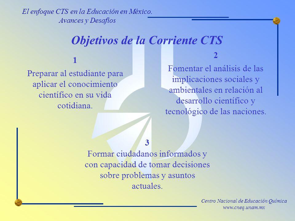 Centro Nacional de Educación Química www.cneq.unam.mx Objetivos de la Corriente CTS 1 Preparar al estudiante para aplicar el conocimiento científico en su vida cotidiana.