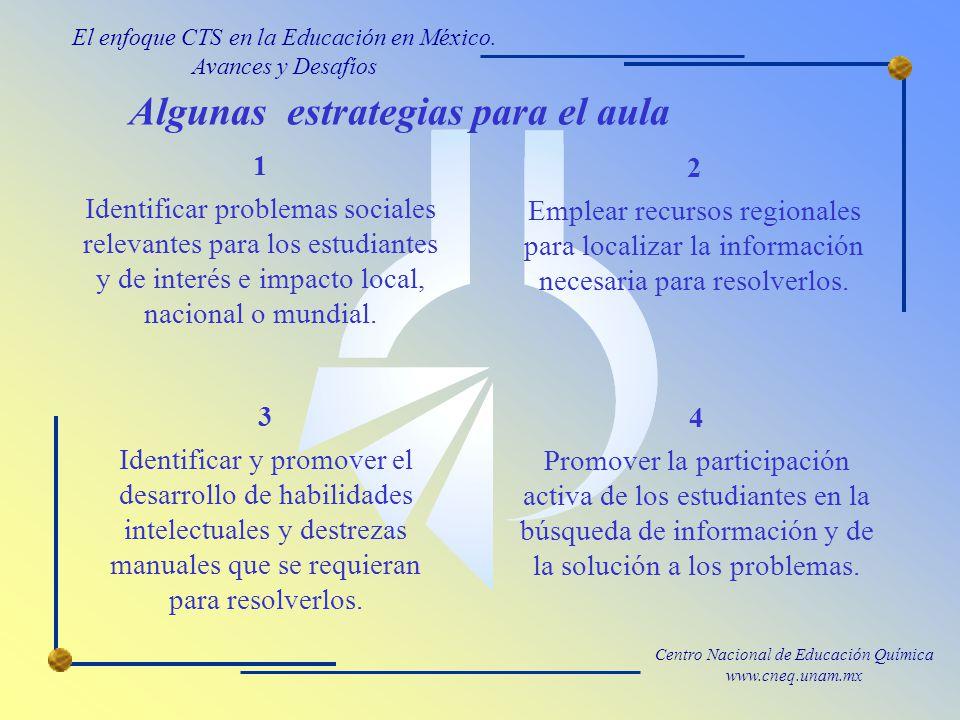 Centro Nacional de Educación Química www.cneq.unam.mx Algunas estrategias para el aula El enfoque CTS en la Educación en México.