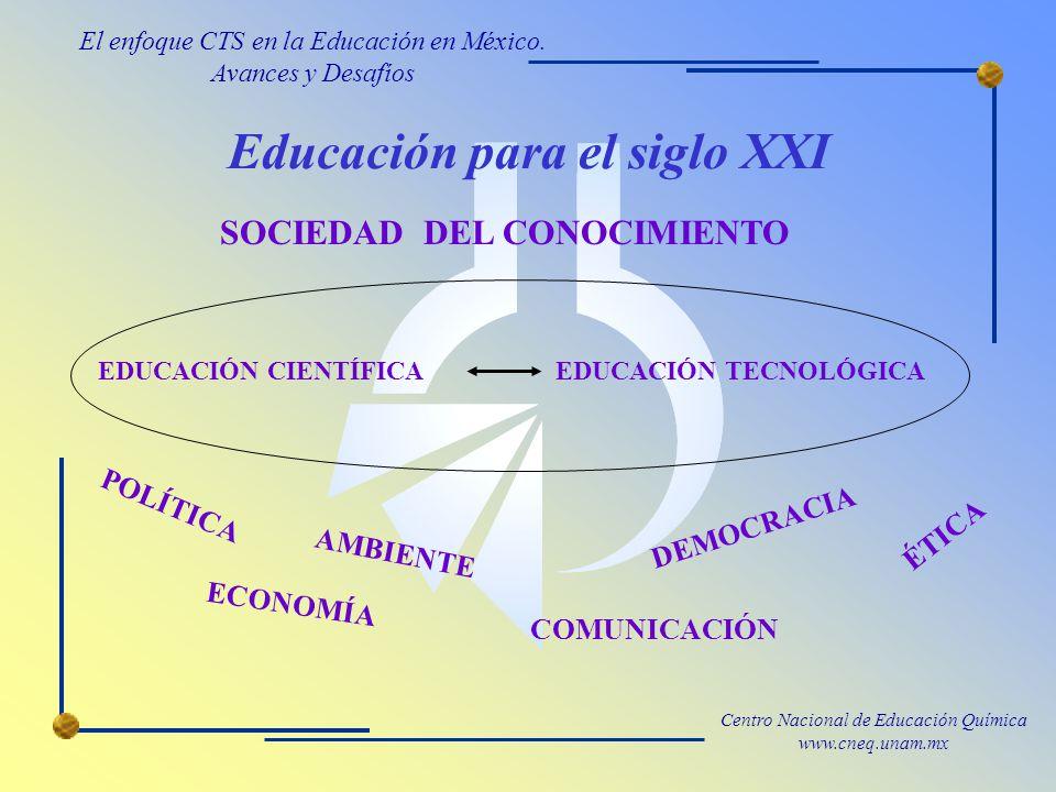Centro Nacional de Educación Química www.cneq.unam.mx Educación para el siglo XXI EDUCACIÓN CIENTÍFICAEDUCACIÓN TECNOLÓGICA SOCIEDAD DEL CONOCIMIENTO ECONOMÍA AMBIENTE DEMOCRACIA ÉTICA POLÍTICA COMUNICACIÓN El enfoque CTS en la Educación en México.