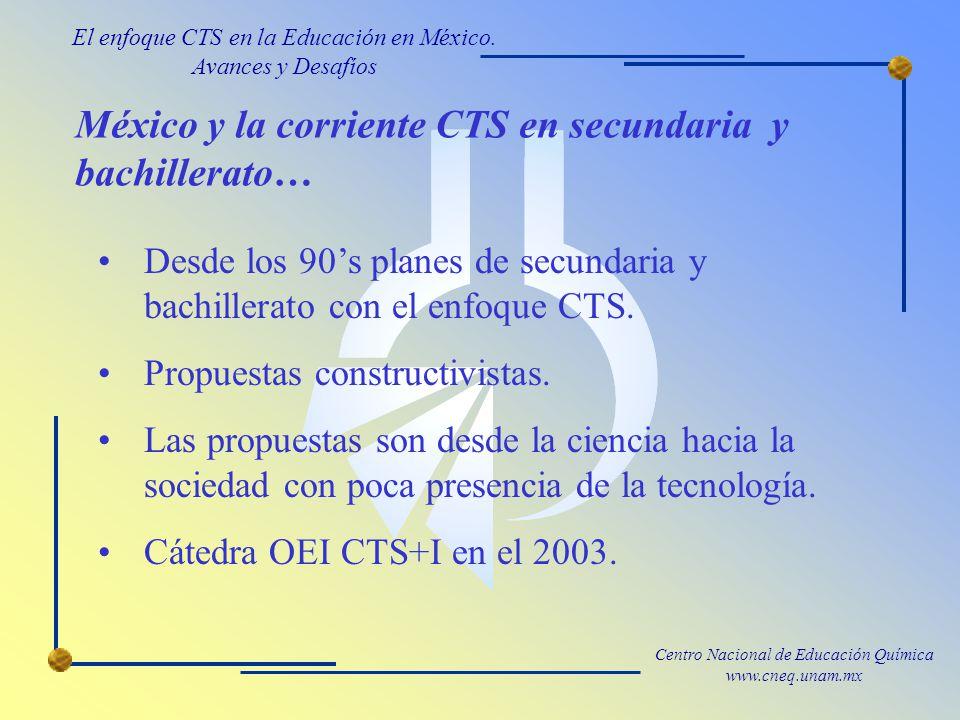 Centro Nacional de Educación Química www.cneq.unam.mx México y la corriente CTS en secundaria y bachillerato… Desde los 90s planes de secundaria y bachillerato con el enfoque CTS.