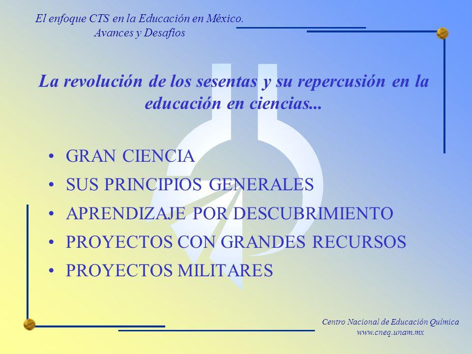 Centro Nacional de Educación Química www.cneq.unam.mx La revolución de los sesentas y su repercusión en la educación en ciencias...
