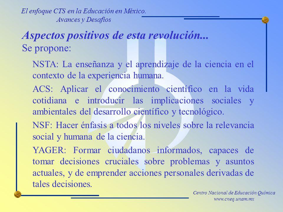 Centro Nacional de Educación Química www.cneq.unam.mx Aspectos positivos de esta revolución...