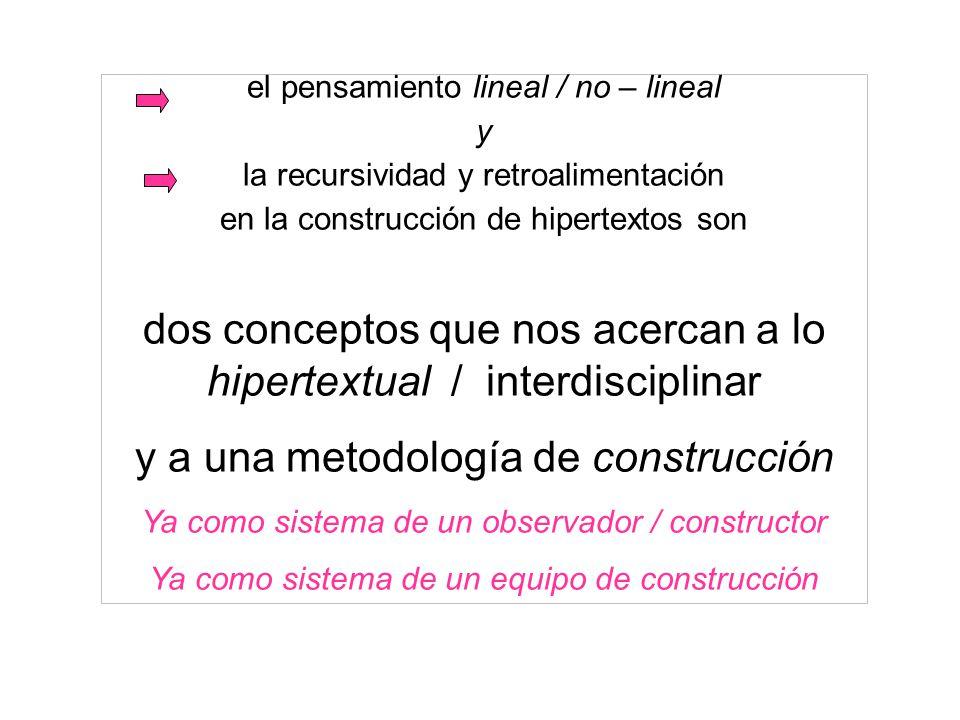 el pensamiento lineal / no – lineal y la recursividad y retroalimentación en la construcción de hipertextos son dos conceptos que nos acercan a lo hip