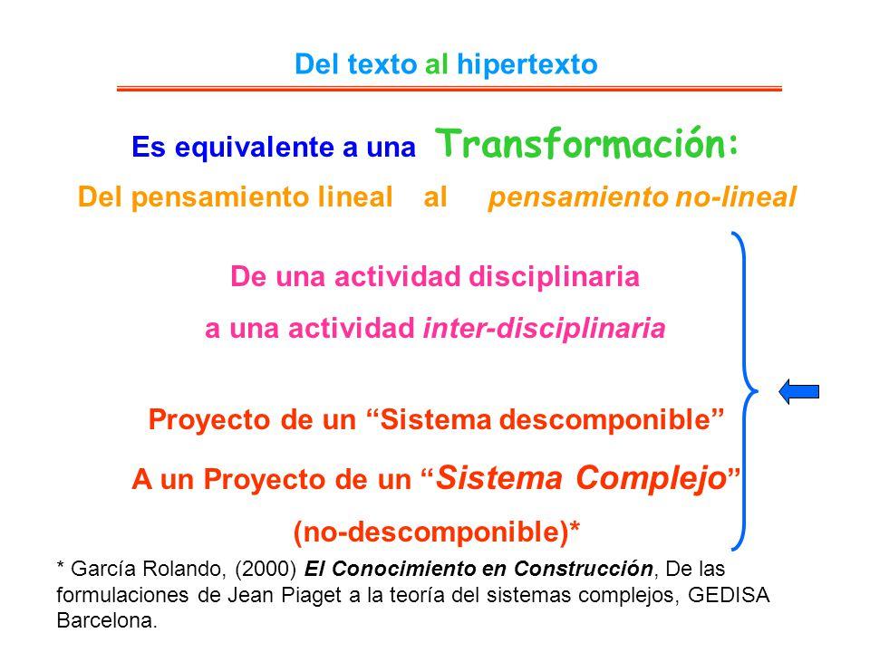 Es equivalente a una Transformación: Del texto al hipertexto Del pensamiento lineal al pensamiento no-lineal De una actividad disciplinaria a una acti
