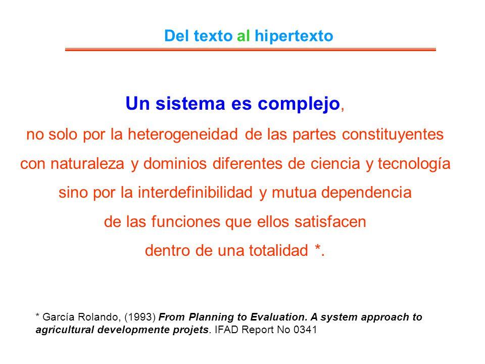Del texto al hipertexto Un sistema es complejo, no solo por la heterogeneidad de las partes constituyentes con naturaleza y dominios diferentes de cie