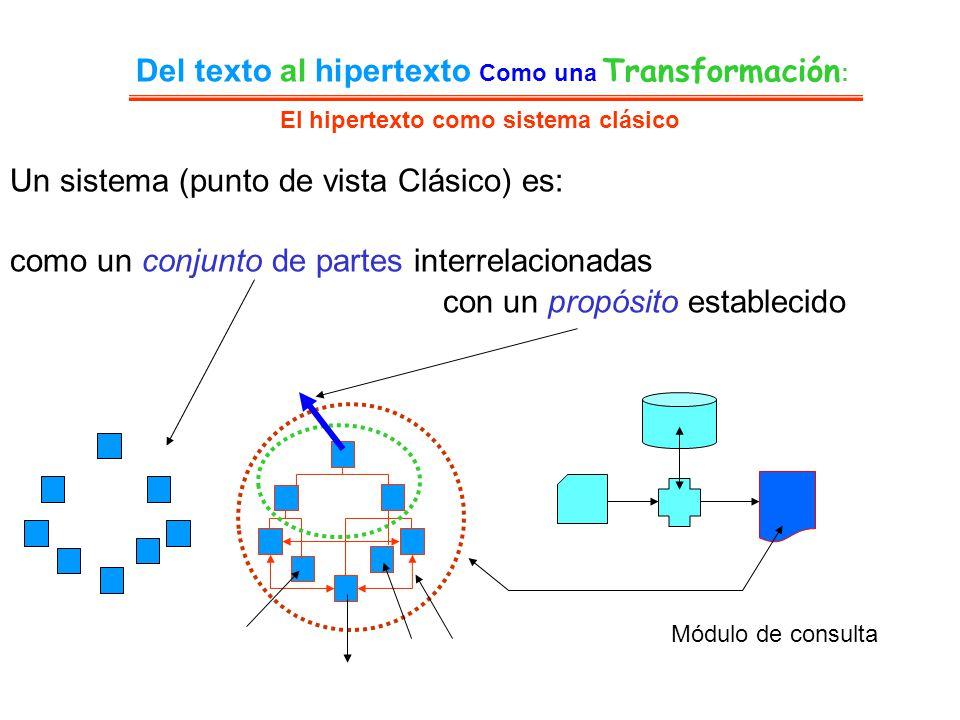 El hipertexto como sistema clásico Del texto al hipertexto Como una Transformación : Un sistema (punto de vista Clásico) es: como un conjunto de parte