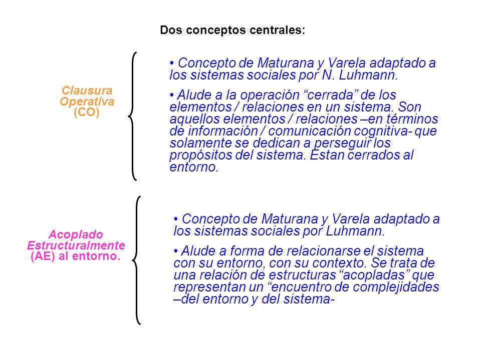 Clausura Operativa (CO) Acoplado Estructuralmente (AE) al entorno. Concepto de Maturana y Varela adaptado a los sistemas sociales por N. Luhmann. Alud