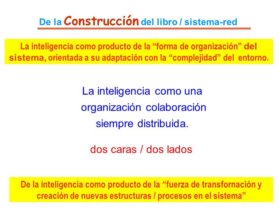 De la Construcción del libro / sistema-red La inteligencia como una organización colaboración siempre distribuida. dos caras / dos lados La inteligenc