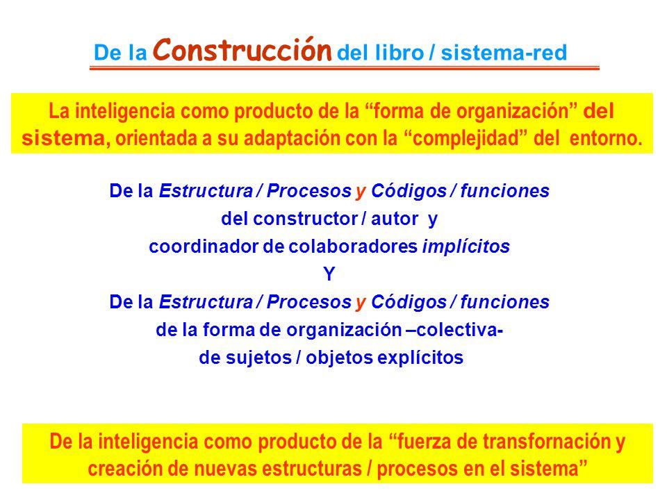 De la Construcción del libro / sistema-red De la Estructura / Procesos y Códigos / funciones del constructor / autor y coordinador de colaboradores im