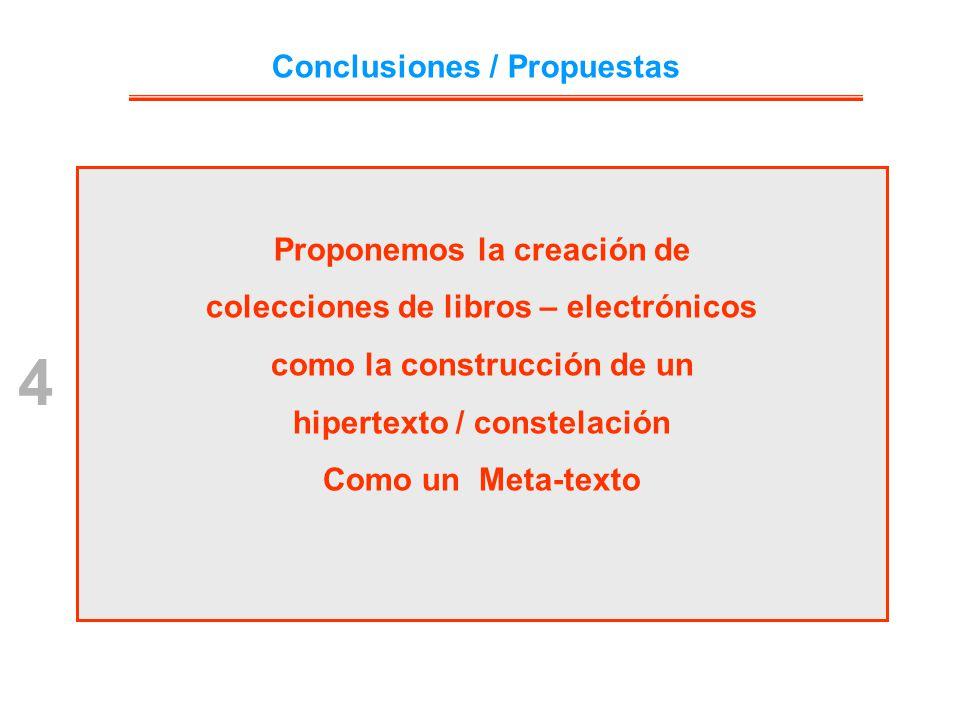Proponemos la creación de colecciones de libros – electrónicos como la construcción de un hipertexto / constelación Como un Meta-texto 4 Conclusiones