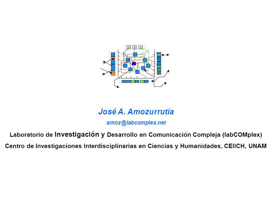 José A. Amozurrutia amoz@labcomplex.net Laboratorio de Investigación y Desarrollo en Comunicación Compleja (labCOMplex) Centro de Investigaciones Inte