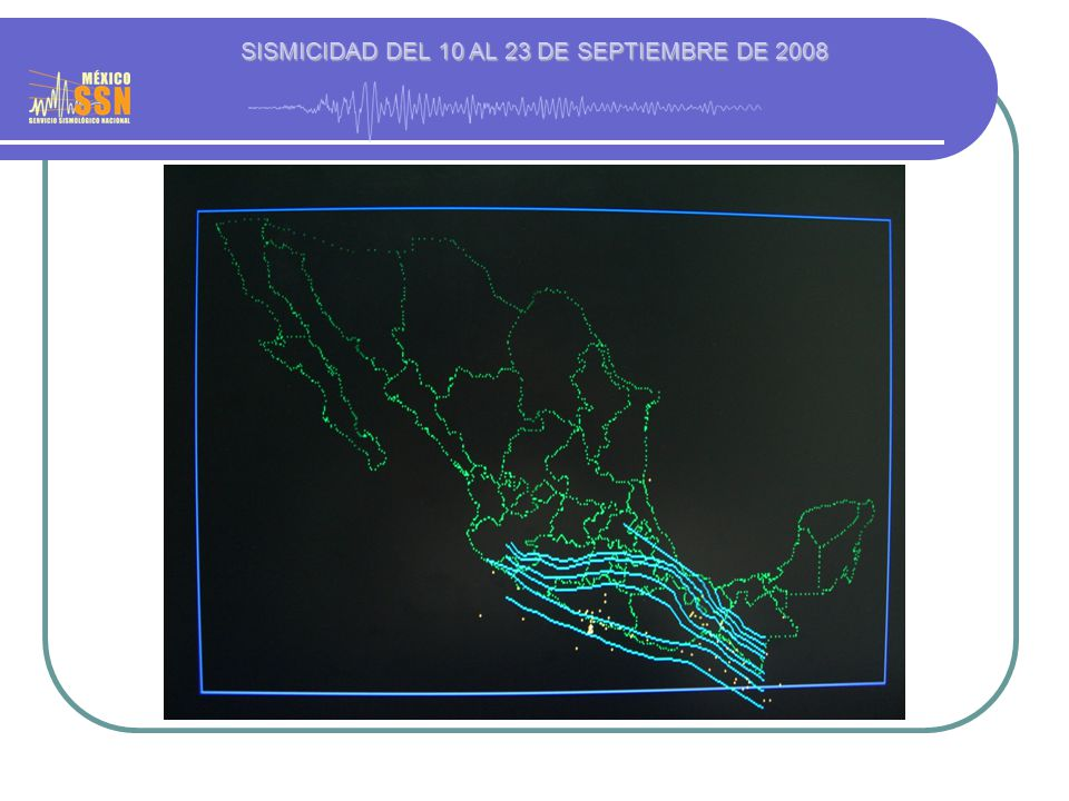 SISMICIDAD DEL 10 AL 23 DE SEPTIEMBRE DE 2008