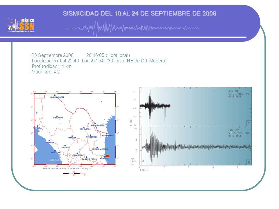 23 Septiembre 2008 20:46:05 (Hora local) Localización: Lat 22.46 Lon -97.54 (36 km al NE de Cd. Madero) Profundidad: 11 km Magnitud: 4.2