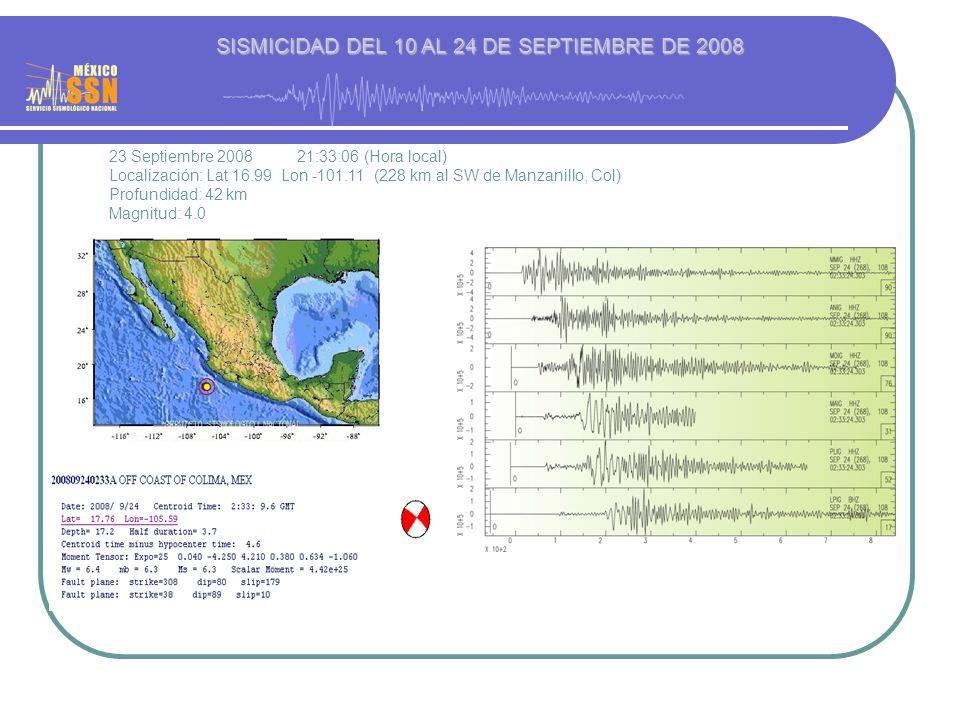 23 Septiembre 2008 21:33:06 (Hora local) Localización: Lat 16.99 Lon -101.11 (228 km al SW de Manzanillo, Col) Profundidad: 42 km Magnitud: 4.0 SISMICIDAD DEL 10 AL 24 DE SEPTIEMBRE DE 2008