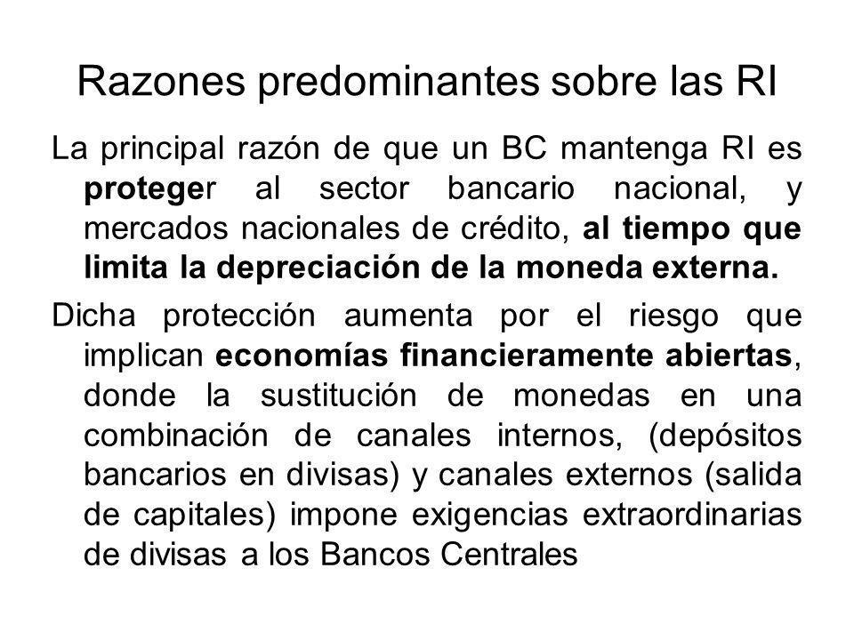 Razones predominantes sobre las RI La principal razón de que un BC mantenga RI es proteger al sector bancario nacional, y mercados nacionales de crédito, al tiempo que limita la depreciación de la moneda externa.
