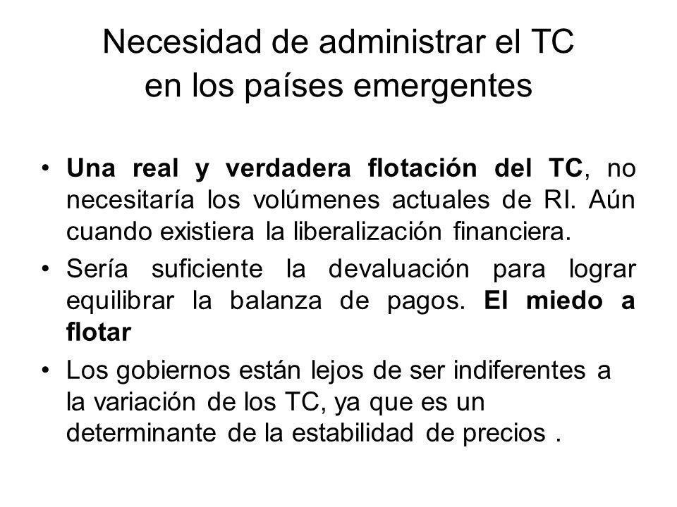 Necesidad de administrar el TC en los países emergentes Una real y verdadera flotación del TC, no necesitaría los volúmenes actuales de RI. Aún cuando