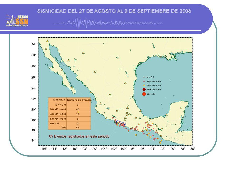 SISMICIDAD DEL 27 DE AGOSTO AL 9 DE SEPTIEMBRE DE 2008