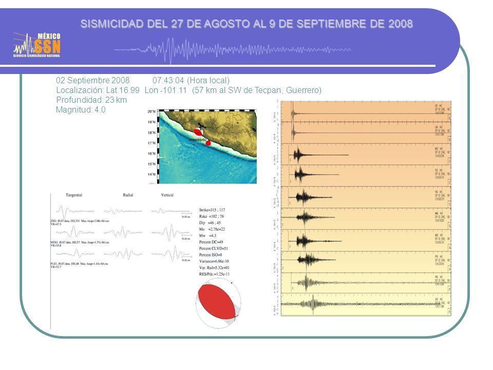 02 Septiembre 2008 07:43:04 (Hora local) Localización: Lat 16.99 Lon -101.11 (57 km al SW de Tecpan, Guerrero) Profundidad: 23 km Magnitud: 4.0 SISMICIDAD DEL 27 DE AGOSTO AL 9 DE SEPTIEMBRE DE 2008