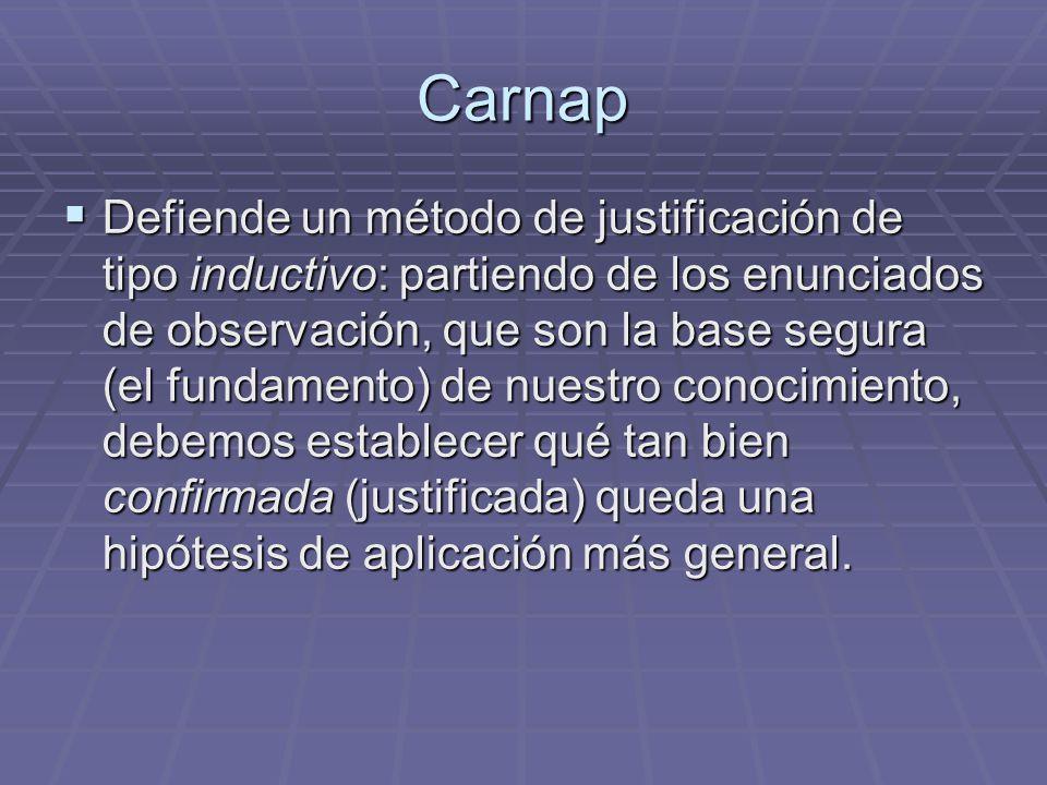 Carnap Defiende un método de justificación de tipo inductivo: partiendo de los enunciados de observación, que son la base segura (el fundamento) de nu