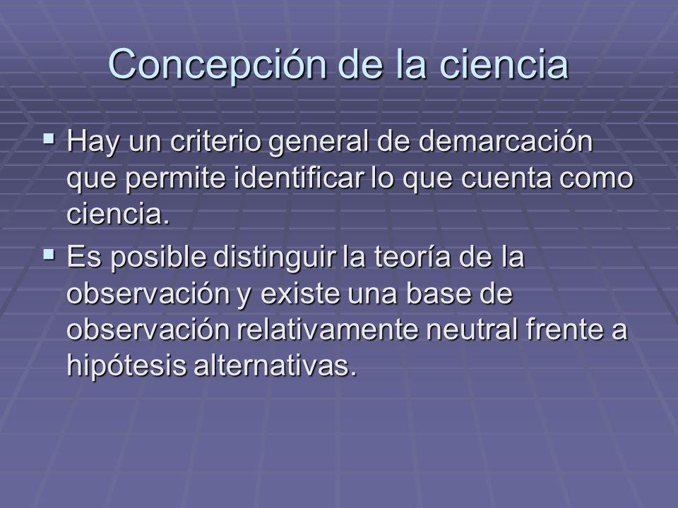 Concepción de la ciencia Hay un criterio general de demarcación que permite identificar lo que cuenta como ciencia. Hay un criterio general de demarca