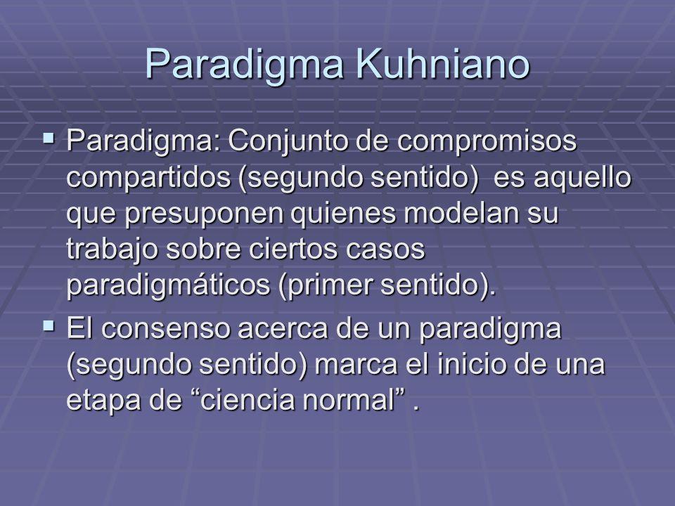Paradigma Kuhniano Paradigma: Conjunto de compromisos compartidos (segundo sentido) es aquello que presuponen quienes modelan su trabajo sobre ciertos